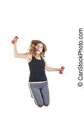 pérdida de peso, condición física, hembra, modelo, en, salto, doblar