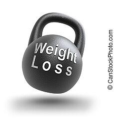 pérdida de peso, encima, blanco
