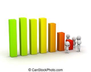 pérdida, ganancia, gráfico, tipos, preocupación, 3d