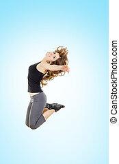 pérdida, mujer, peso, alegría, saltar, condición física