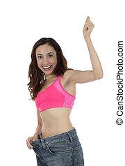 pérdida, mujer, peso, exitoso, aplausos, condición física