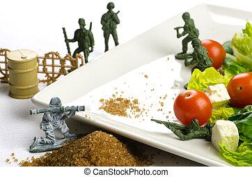 pérdida, peso, dieta sana, alimento, guerra