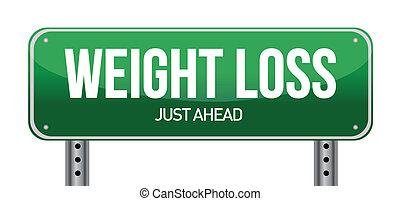 pérdida, peso, ilustración, señal, diseño, camino