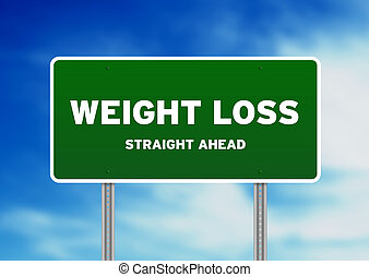 pérdida, peso, señal de autopista