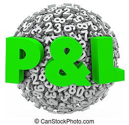 pérdida, renta, ganancia, l, presupuesto, p, figuras, números, ingresos