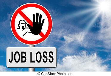 pérdida, trabajo, parada