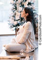 période noël, femme, pregnant