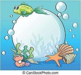 pérola, cercado, criaturas, mar, oceânicos