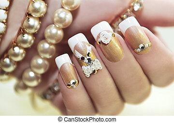 pérola, manicure., francês