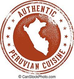 péruvien, menu, timbre, conception, nourriture, authentique