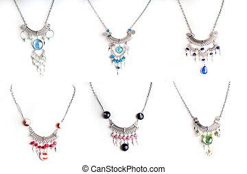 péruvien, perlé, ensemble, collier