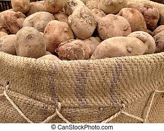 péruvien, sac, jute, pomme terre