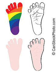 pés bebê, ilustrações, vetorial