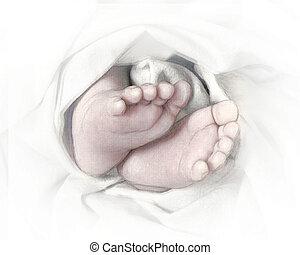 pés bebê, lápis, esboço