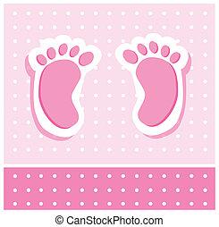 pés bebê, menina