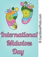 pés, bebê, midwives, dia, internacional