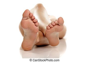 pés, branca, nu, fundo, femininas