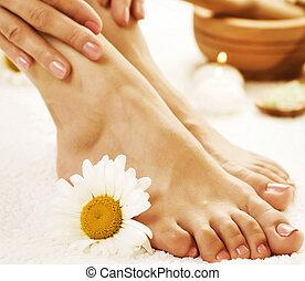 pés, conceito, spa., pedicure