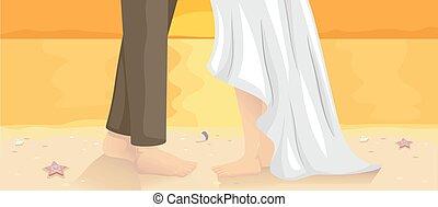 pés, dança, par, casamento praia