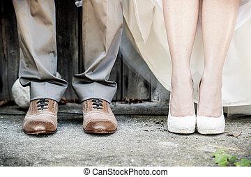 pés, de, par casando
