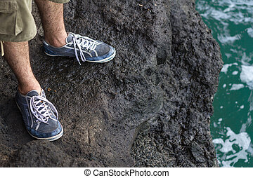 pés, em, ginásio, sapatos, ficar, ligado, um, penhasco
