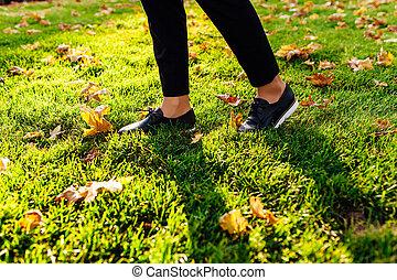 pés, em, sapatos, andar, através, a, capim, outono, folhas