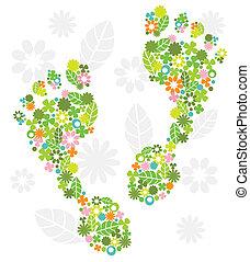 pés, flores, verde, feito