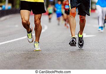 pés, homens, dois, corredores