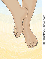 pés, imagem, femininas