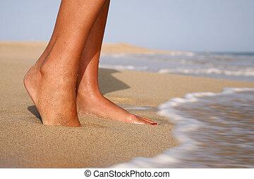pés, ligado, praia
