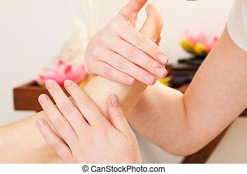 pés, massagem, em, spa