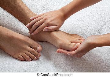 pés, massaging, mãos