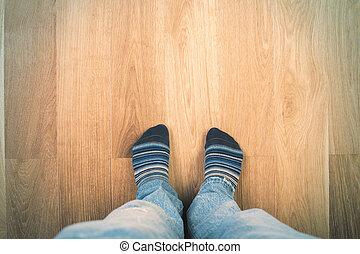 pés, meias, homem