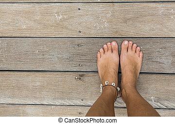 pés, mulher, nu