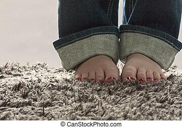 pés, nu, tapete