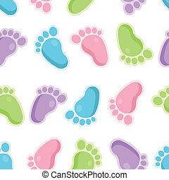 pés, padrão, bebê, seamless, ícones