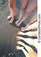 pés, pessoas, cinco, família, dez