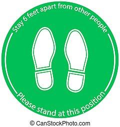 pés, práticas, lugar, ficar, ponha, social, chão, distancing, vetorial, pé, posição, ilustração, símbolo, pessoas, 6, marcadores, marcação, à parte, levantar, obrigue