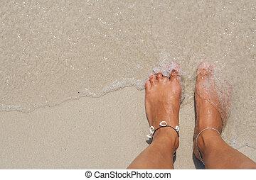 pés, praia., nu, mulher