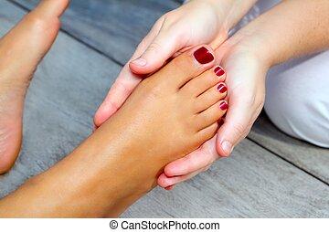 pés, reflexology, mulher, terapia, massagem