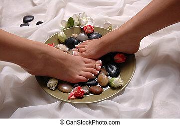 pés, relaxado