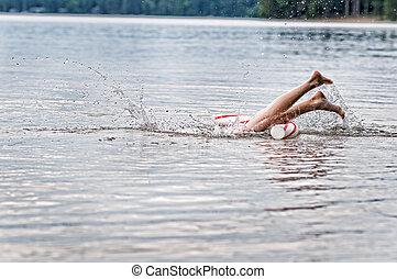 pés, respingue, em, um, lago