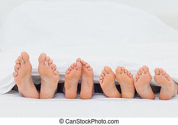 pés, seu, mostrando, cama, família