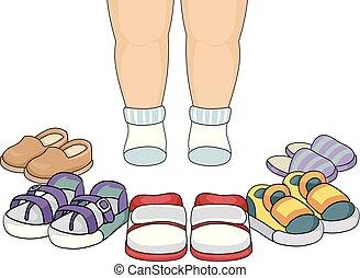 pés, toddler, direita, sapatos, ilustração