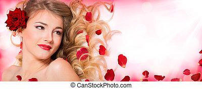 pétalas, rosa, penteado, e, maquilagem