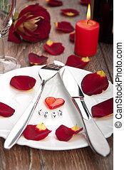 pétales, mettre table, jour, valentine