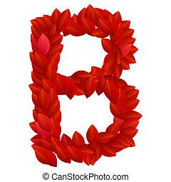 pétalos, b, rojo, carta, alfabeto
