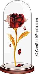pétalos, caer, rosa roja