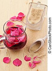 Pétalos, jarabe, rosa