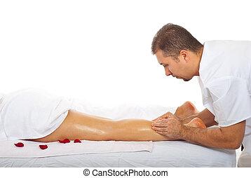 pétrissage, femme, masseur, jambe